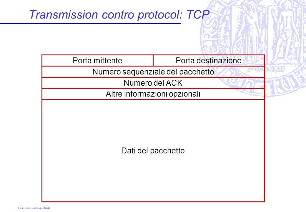 DEI - Univ. Padova (Italia) Transmission contro protocol: TCP Porta destinazionePorta mittente Numero sequenziale del pacchetto Numero del ACK Altre i