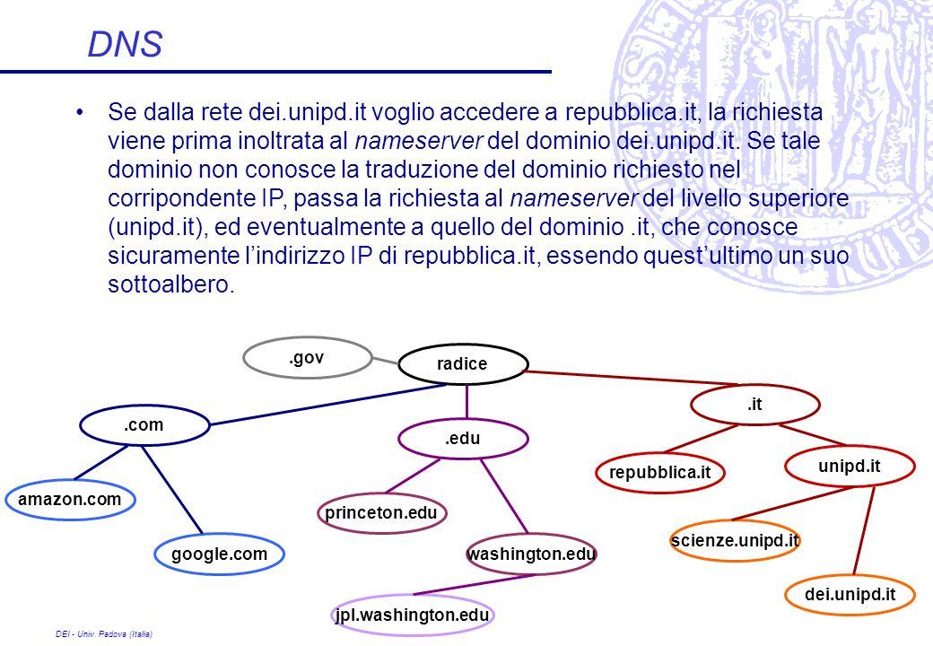 DEI - Univ. Padova (Italia) DNS Se dalla rete dei.unipd.it voglio accedere a repubblica.it, la richiesta viene prima inoltrata al nameserver del domin