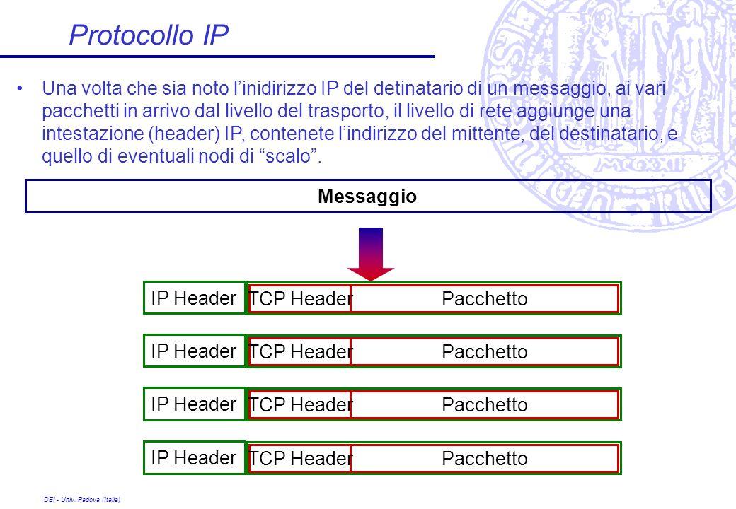 DEI - Univ. Padova (Italia) Protocollo IP Una volta che sia noto linidirizzo IP del detinatario di un messaggio, ai vari pacchetti in arrivo dal livel