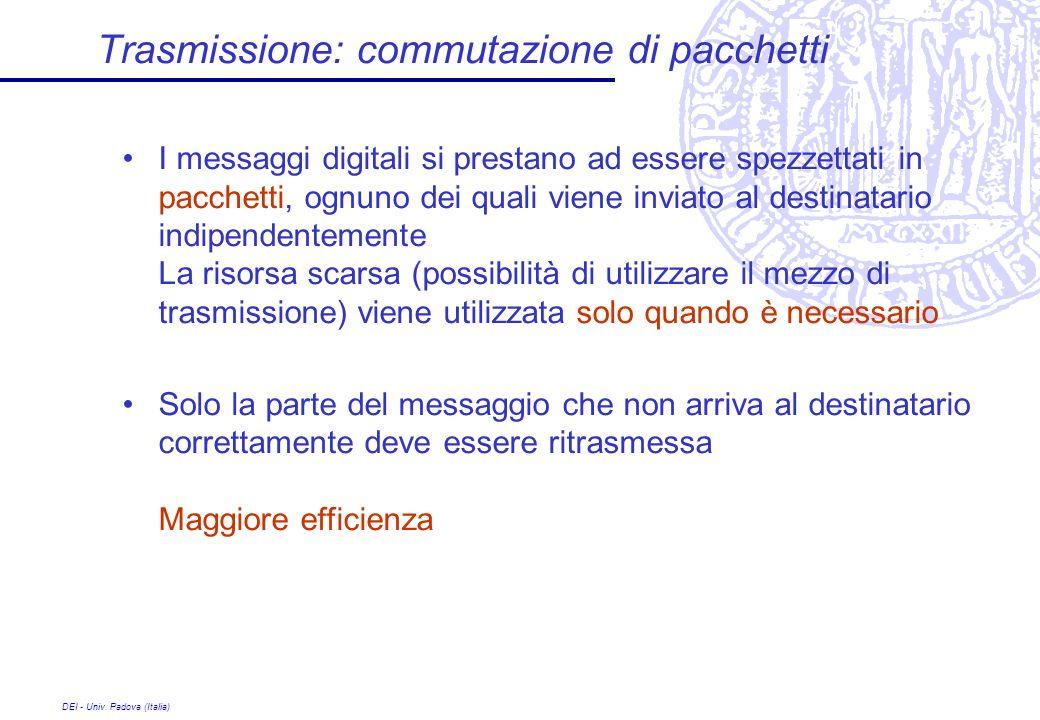 DEI - Univ. Padova (Italia) Trasmissione: commutazione di pacchetti I messaggi digitali si prestano ad essere spezzettati in pacchetti, ognuno dei qua