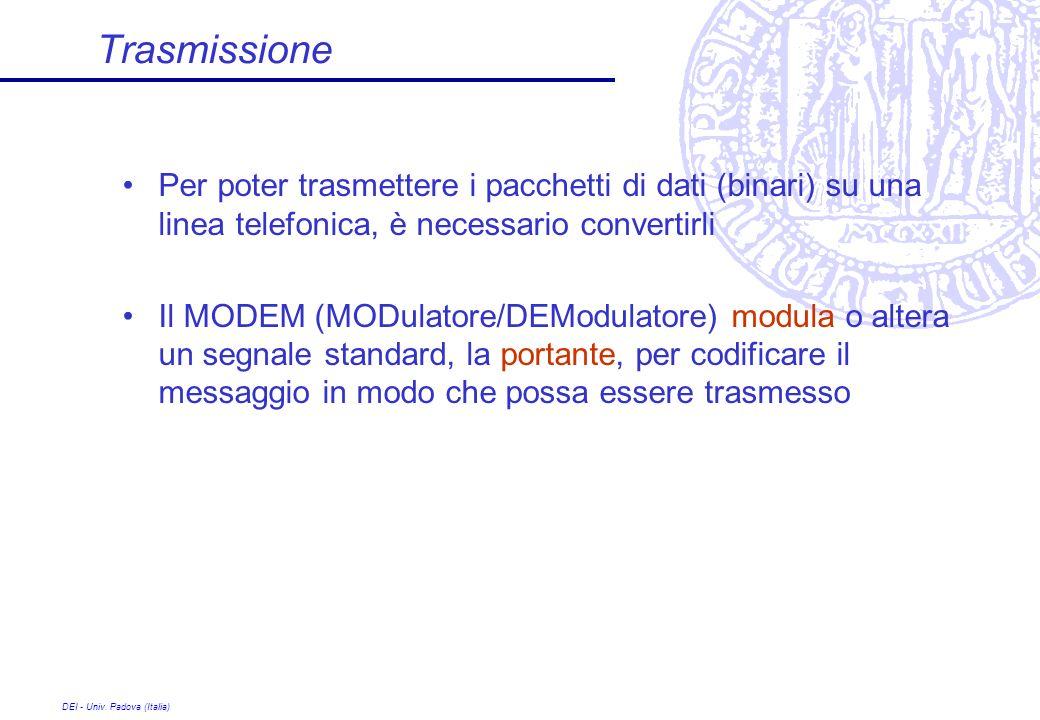 DEI - Univ. Padova (Italia) Trasmissione Per poter trasmettere i pacchetti di dati (binari) su una linea telefonica, è necessario convertirli Il MODEM