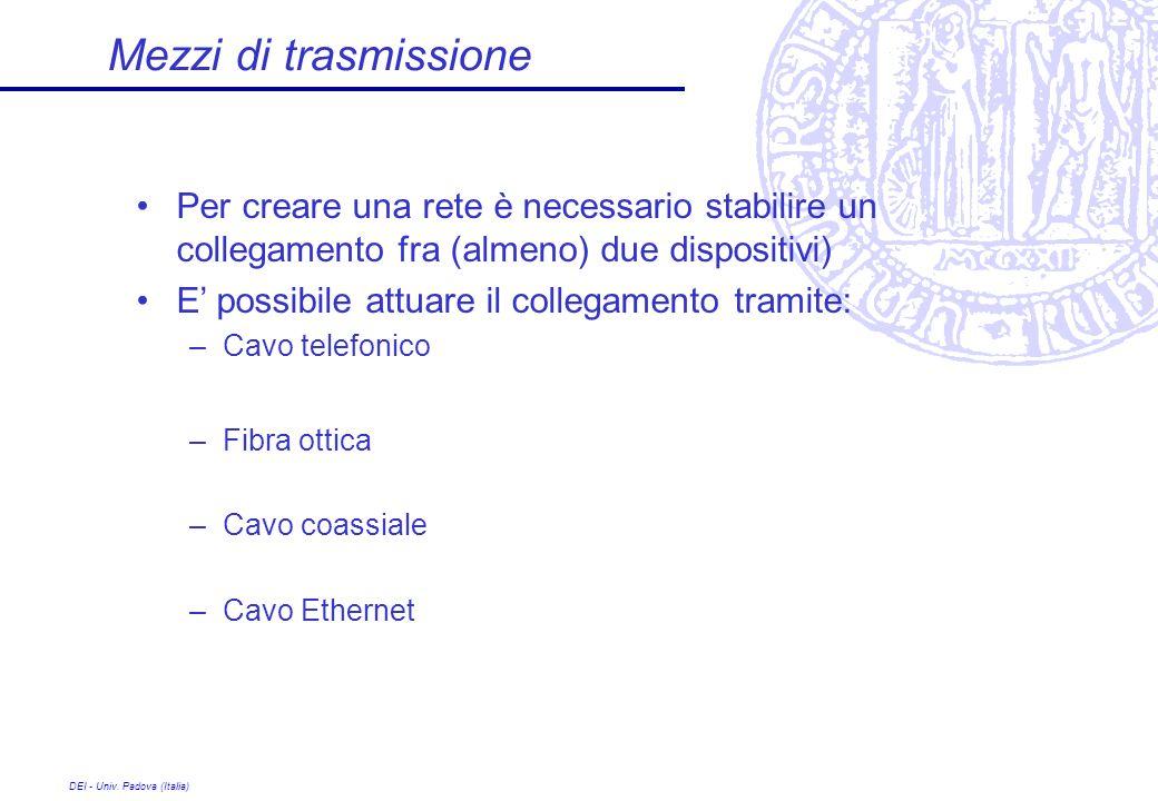 DEI - Univ. Padova (Italia) Mezzi di trasmissione Per creare una rete è necessario stabilire un collegamento fra (almeno) due dispositivi) E possibile