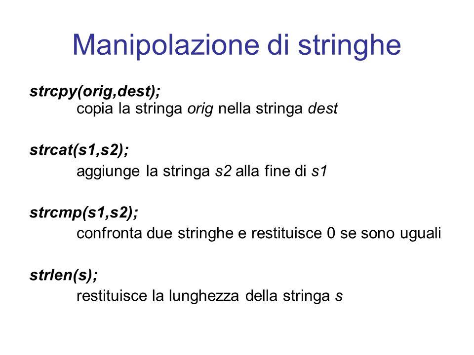 Manipolazione di stringhe strcpy(orig,dest); copia la stringa orig nella stringa dest strcat(s1,s2); aggiunge la stringa s2 alla fine di s1 strcmp(s1,s2); confronta due stringhe e restituisce 0 se sono uguali strlen(s); restituisce la lunghezza della stringa s