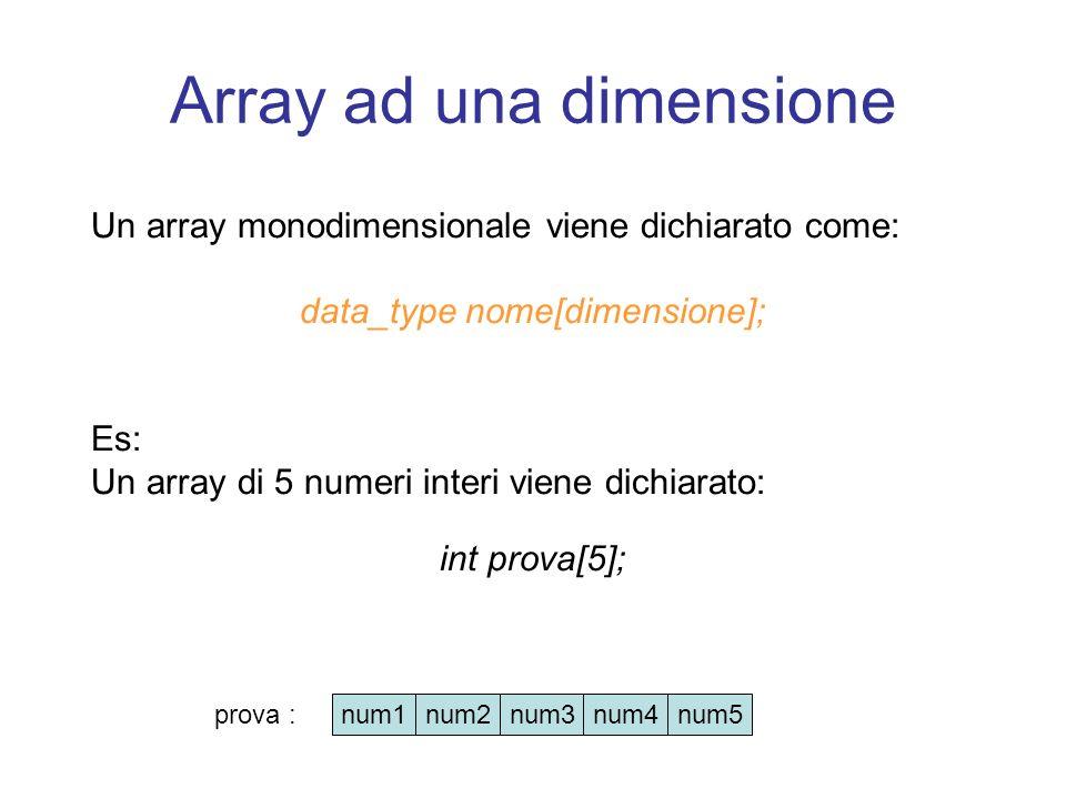 Array ad una dimensione Un array monodimensionale viene dichiarato come: data_type nome[dimensione]; Es: Un array di 5 numeri interi viene dichiarato: int prova[5]; num1num2num3num4num5 prova :