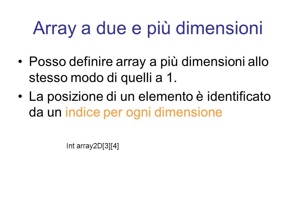 Array a due e più dimensioni Posso definire array a più dimensioni allo stesso modo di quelli a 1.