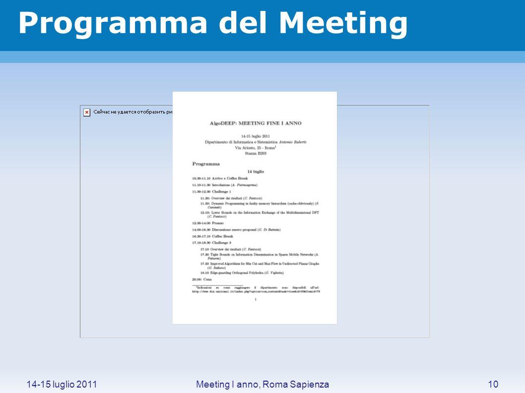 Meeting I anno, Roma Sapienza14-15 luglio 2011 Programma del Meeting 10