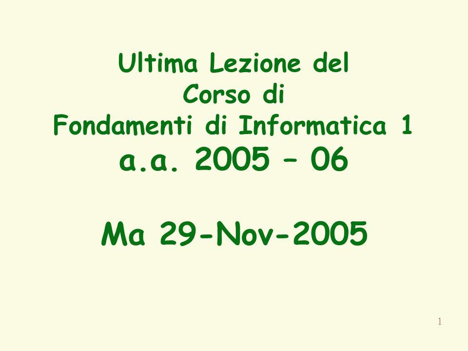 1 Ultima Lezione del Corso di Fondamenti di Informatica 1 a.a. 2005 – 06 Ma 29-Nov-2005