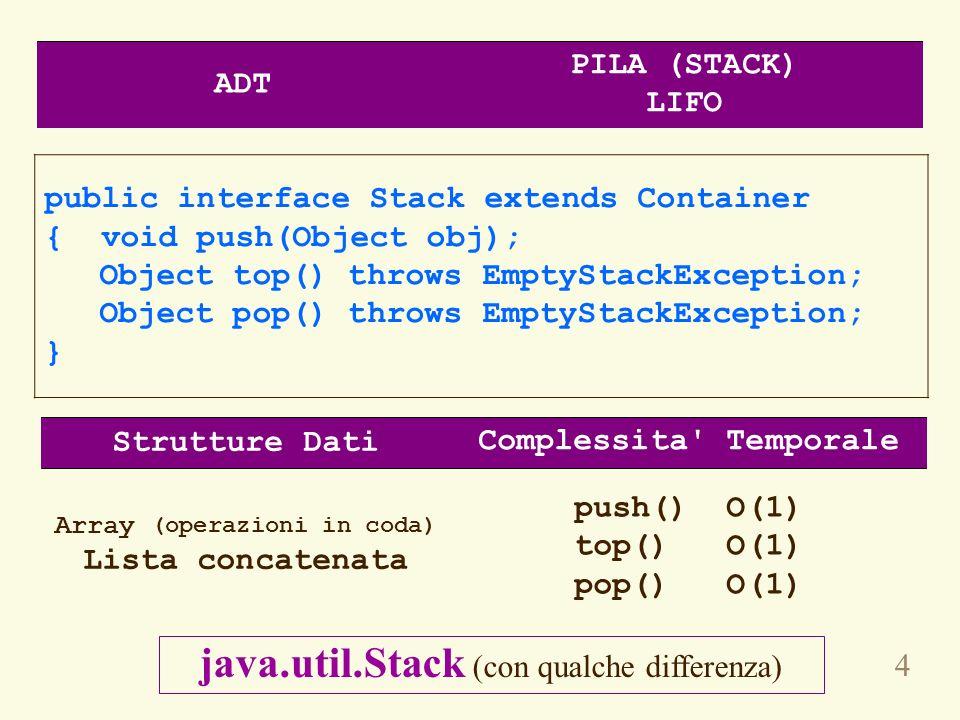 5 public interface Queue extends Container { void enqueue(Object obj); Object getFront() throws EmptyQueueException; Object dequeue() throws EmptyQueueException; } Strutture Dati Complessita Temporale Array circolare Lista concatenata enqueue() O(1) getFront() O(1) dequeue() O(1) ADT CODA (QUEUE) FIFO Non ce implementazione nella libreria standard interfaccia java.util.Queue (con qualche differenza)