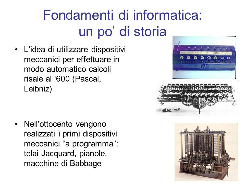 1 Fondamenti di informatica: un po di storia Lidea di utilizzare dispositivi meccanici per effettuare in modo automatico calcoli risale al 600 (Pascal