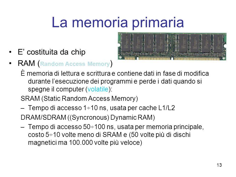 13 La memoria primaria E costituita da chip RAM ( Random Access Memory ) È memoria di lettura e scrittura e contiene dati in fase di modifica durante