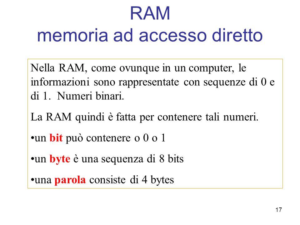 17 RAM memoria ad accesso diretto Nella RAM, come ovunque in un computer, le informazioni sono rappresentate con sequenze di 0 e di 1. Numeri binari.