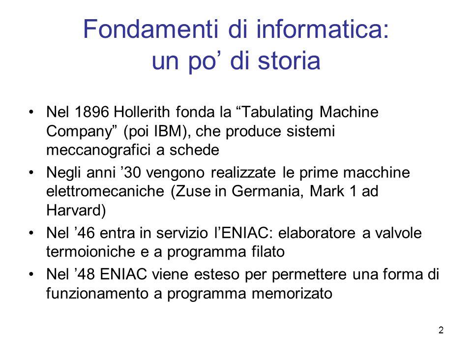 2 Fondamenti di informatica: un po di storia Nel 1896 Hollerith fonda la Tabulating Machine Company (poi IBM), che produce sistemi meccanografici a sc