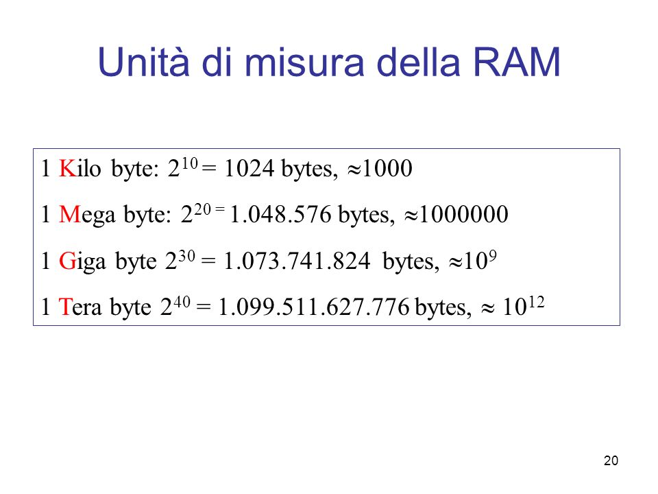 20 Unità di misura della RAM 1 Kilo byte: 2 10 = 1024 bytes, 1000 1 Mega byte: 2 20 = 1.048.576 bytes, 1000000 1 Giga byte 2 30 = 1.073.741.824 bytes,