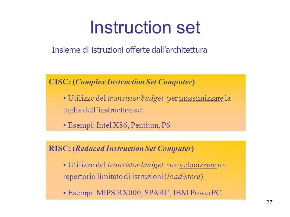 27 Instruction set CISC: (Complex Instruction Set Computer) Utilizzo del transistor budget per massimizzare la taglia dellinstruction set Esempi: Inte