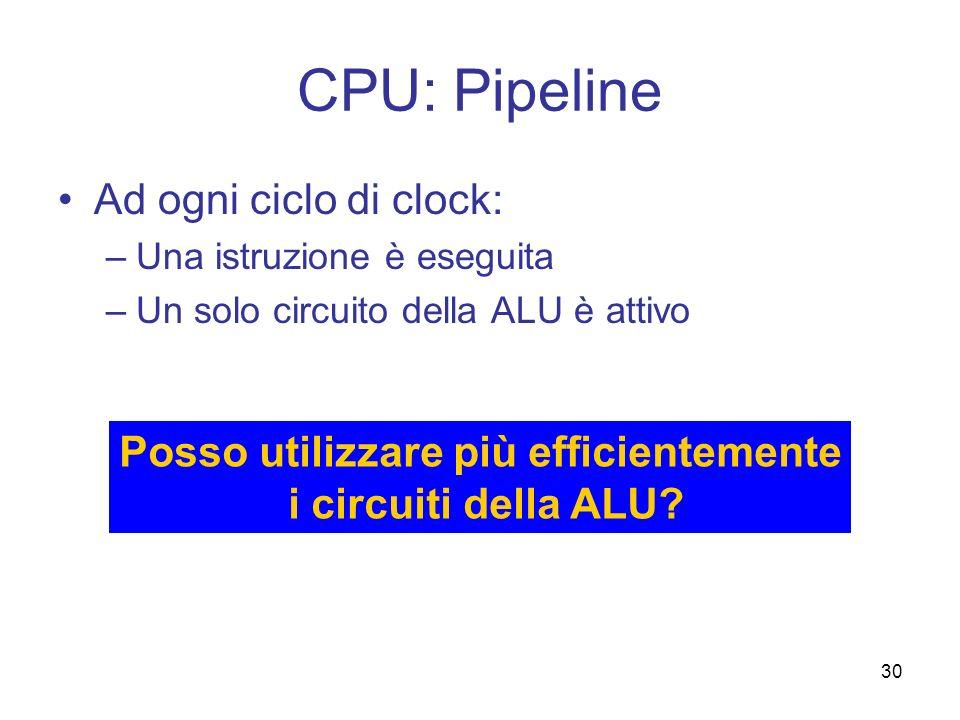 30 CPU: Pipeline Ad ogni ciclo di clock: –Una istruzione è eseguita –Un solo circuito della ALU è attivo Posso utilizzare più efficientemente i circui
