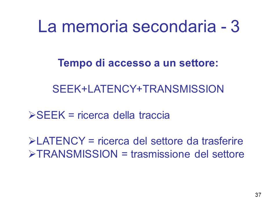 37 La memoria secondaria - 3 Tempo di accesso a un settore: SEEK+LATENCY+TRANSMISSION SEEK = ricerca della traccia LATENCY = ricerca del settore da tr