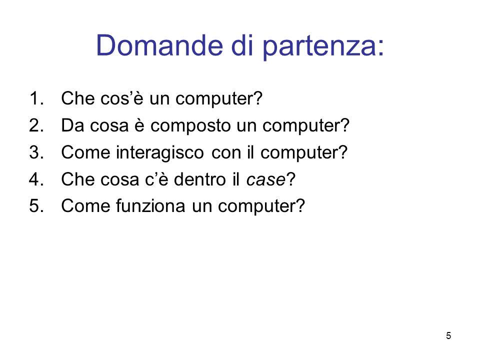 5 Domande di partenza: 1.Che cosè un computer? 2.Da cosa è composto un computer? 3.Come interagisco con il computer? 4.Che cosa cè dentro il case? 5.C