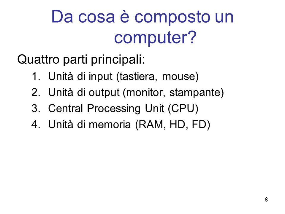 8 Da cosa è composto un computer? Quattro parti principali: 1.Unità di input (tastiera, mouse) 2.Unità di output (monitor, stampante) 3.Central Proces
