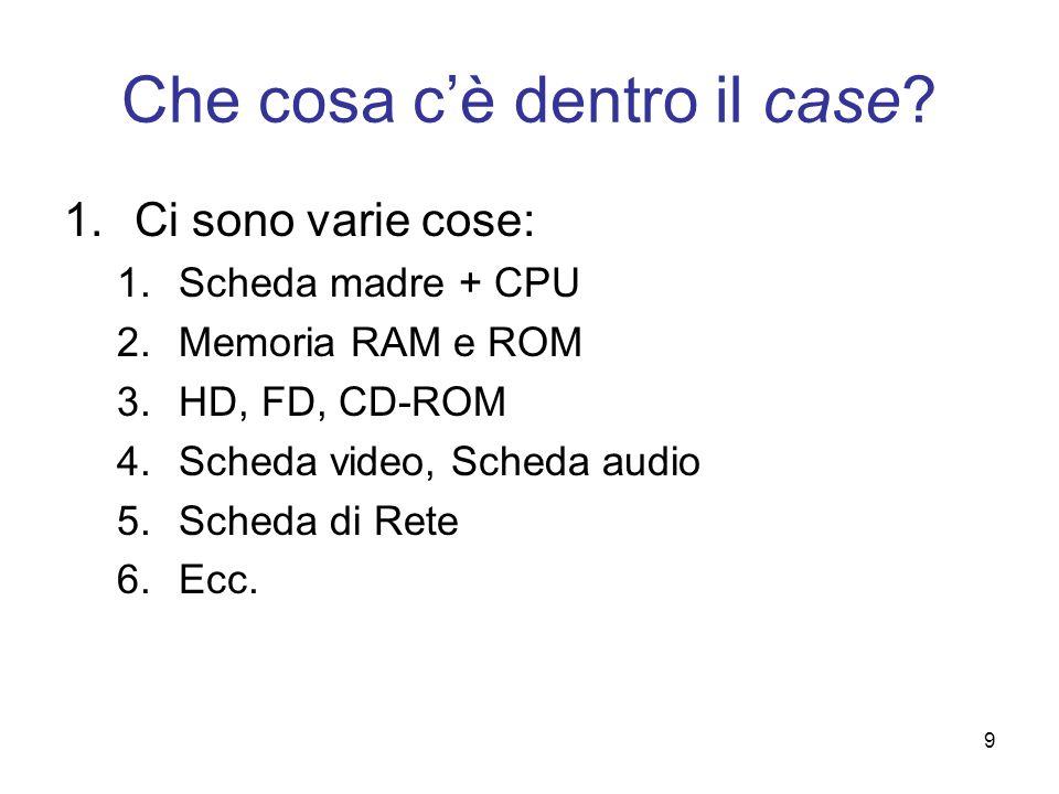 9 Che cosa cè dentro il case? 1.Ci sono varie cose: 1.Scheda madre + CPU 2.Memoria RAM e ROM 3.HD, FD, CD-ROM 4.Scheda video, Scheda audio 5.Scheda di