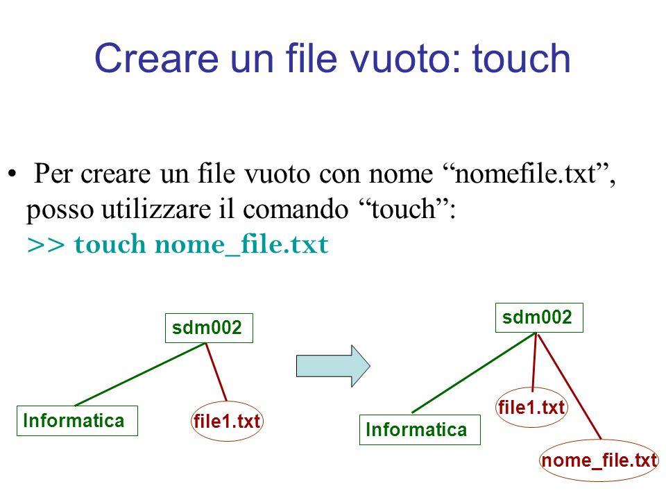 Creare un file vuoto: touch Per creare un file vuoto con nome nomefile.txt, posso utilizzare il comando touch: >> touch nome_file.txt sdm002 Informatica file1.txt sdm002 Informatica file1.txt nome_file.txt