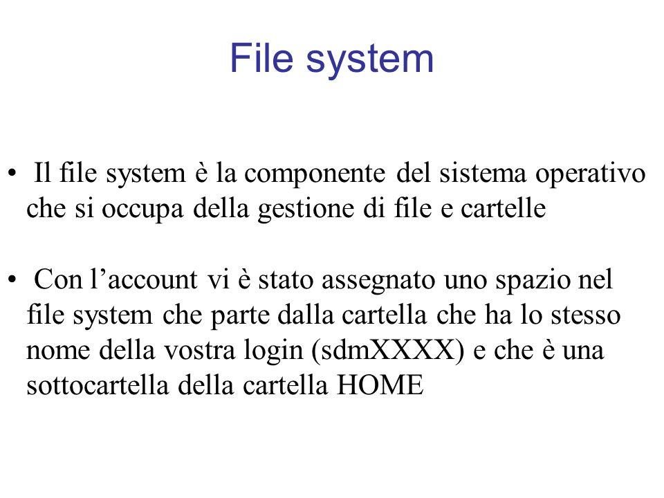 Visualizzare il contenuto di un file: more Il comando: >> more nome_file stampa a schermo il contenuto del file nome_file una videata alla volta.