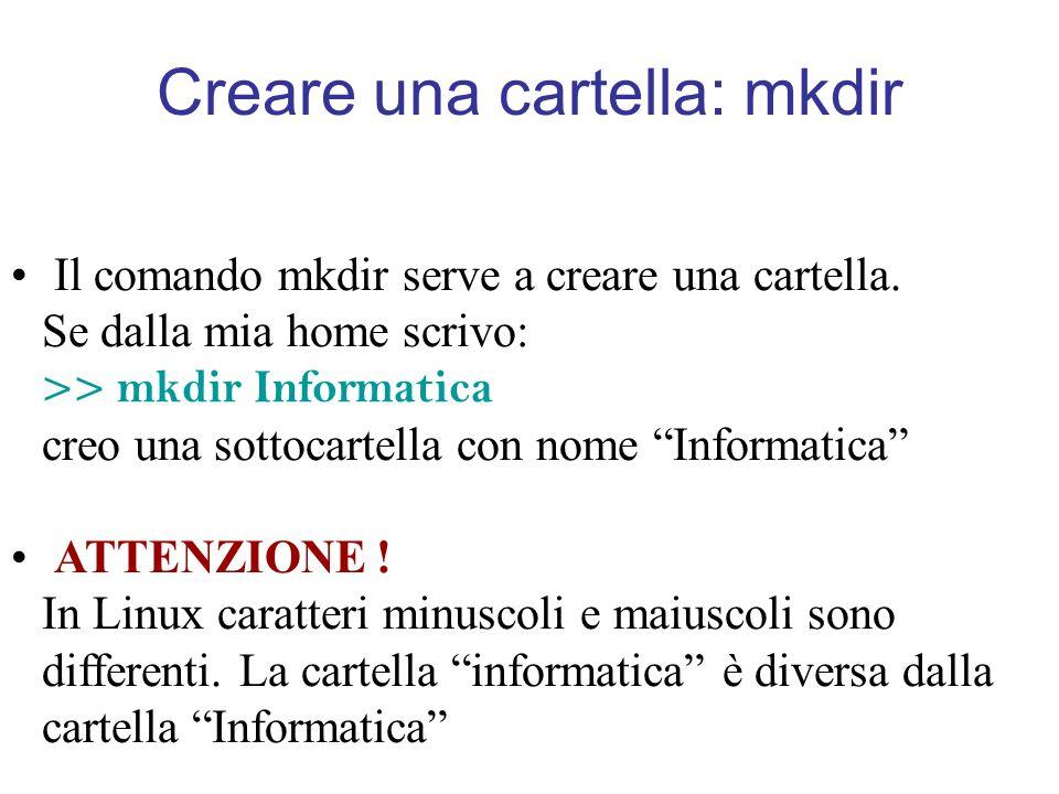 Creare una cartella: mkdir Il comando mkdir serve a creare una cartella.