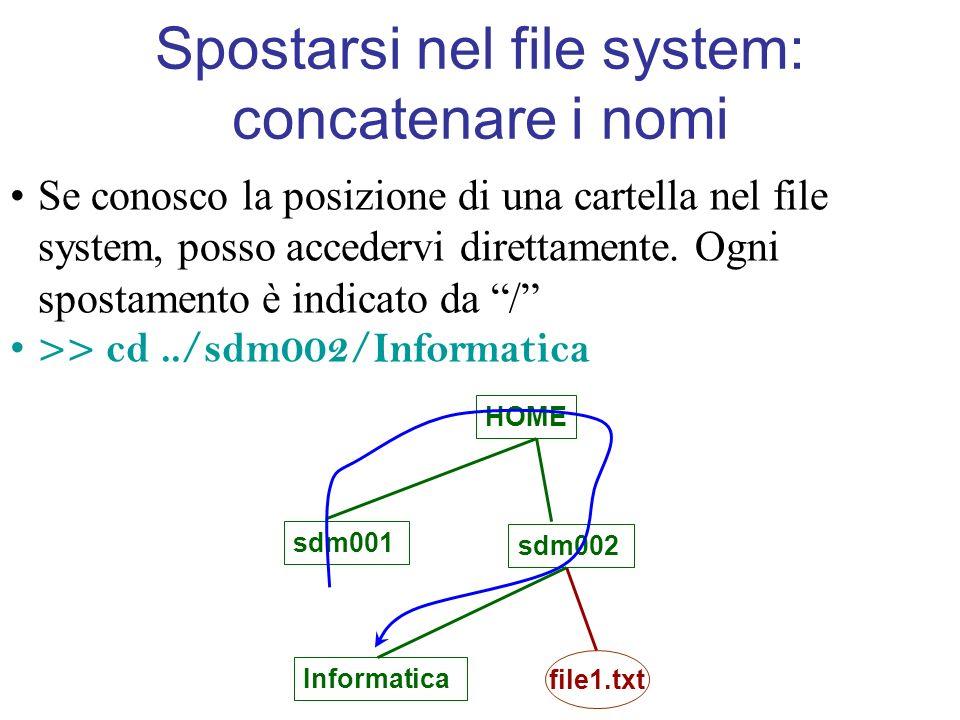 Spostarsi nel file system: concatenare i nomi Se conosco la posizione di una cartella nel file system, posso accedervi direttamente.