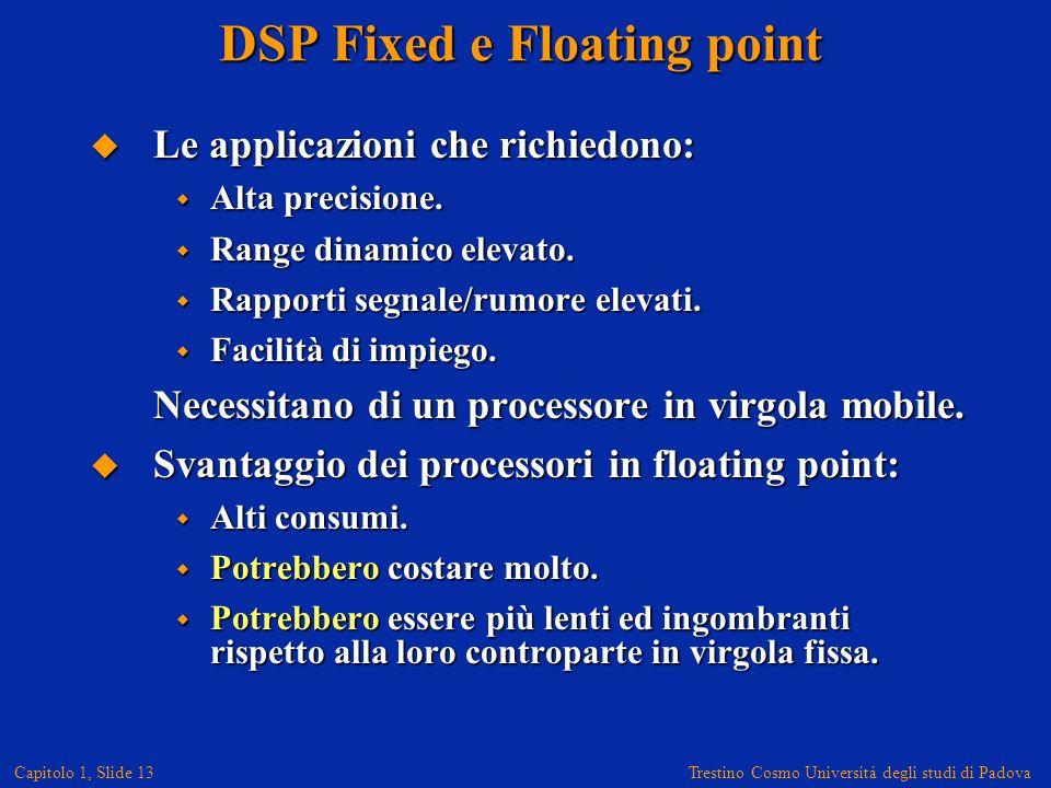 Trestino Cosmo Università degli studi di Padova Capitolo 1, Slide 13 DSP Fixed e Floating point Le applicazioni che richiedono: Le applicazioni che richiedono: Alta precisione.