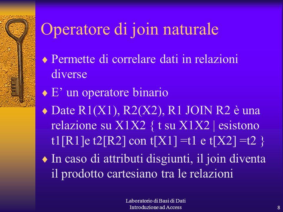 Laboratorio di Basi di Dati Introduzione ad Access8 Operatore di join naturale Permette di correlare dati in relazioni diverse E un operatore binario Date R1(X1), R2(X2), R1 JOIN R2 è una relazione su X1X2 { t su X1X2 | esistono t1[R1]e t2[R2] con t[X1] =t1 e t[X2] =t2 } In caso di attributi disgiunti, il join diventa il prodotto cartesiano tra le relazioni