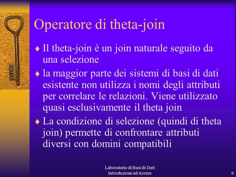 Laboratorio di Basi di Dati Introduzione ad Access9 Operatore di theta-join Il theta-join è un join naturale seguito da una selezione la maggior parte dei sistemi di basi di dati esistente non utilizza i nomi degli attributi per correlare le relazioni.