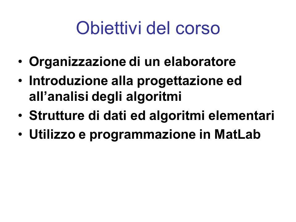 Obiettivi del corso Organizzazione di un elaboratore Introduzione alla progettazione ed allanalisi degli algoritmi Strutture di dati ed algoritmi elementari Utilizzo e programmazione in MatLab