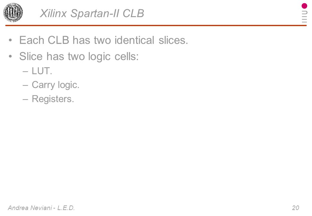 Andrea Neviani - L.E.D. 20 Xilinx Spartan-II CLB Each CLB has two identical slices. Slice has two logic cells: –LUT. –Carry logic. –Registers.