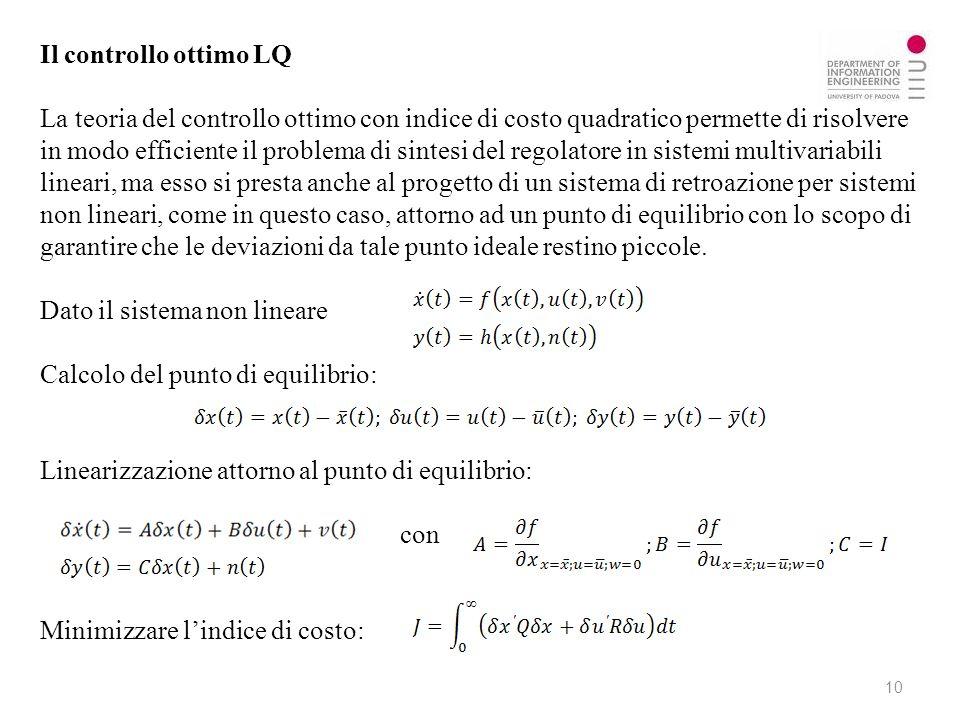 Il controllo ottimo LQ La teoria del controllo ottimo con indice di costo quadratico permette di risolvere in modo efficiente il problema di sintesi d