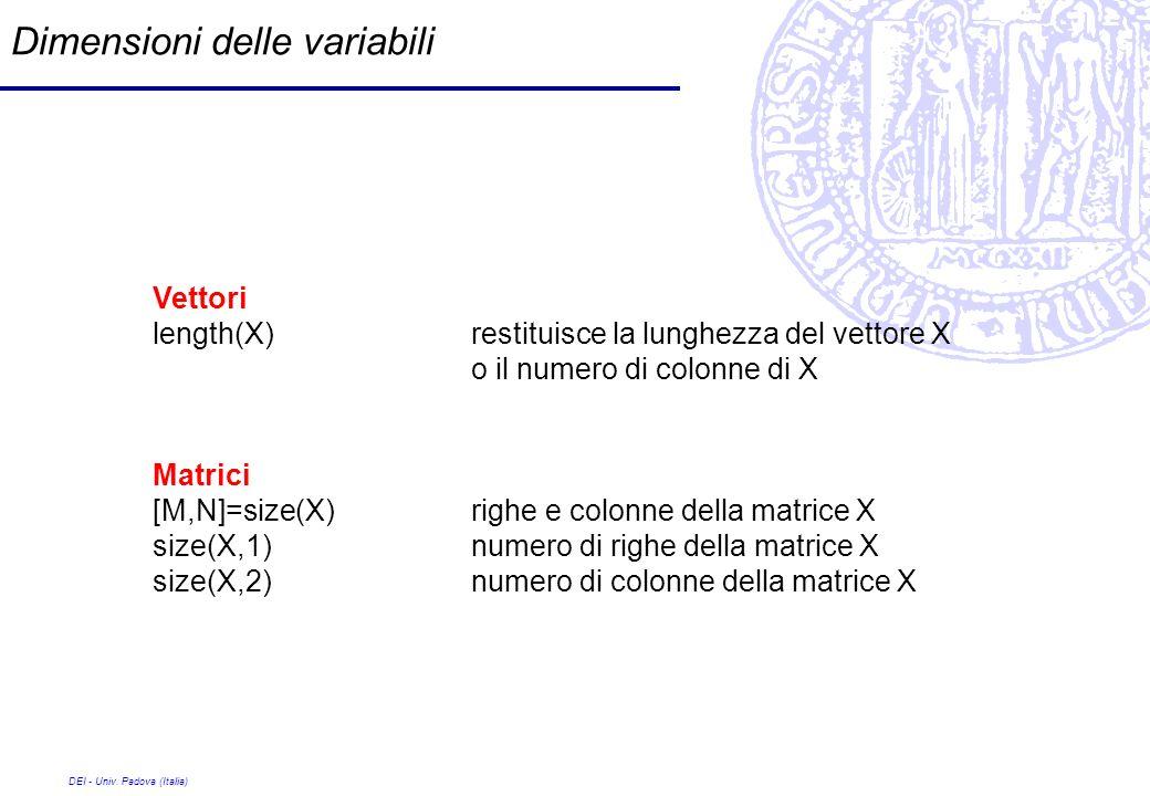DEI - Univ. Padova (Italia) Dimensioni delle variabili Vettori length(X) restituisce la lunghezza del vettore X o il numero di colonne di X Matrici [M