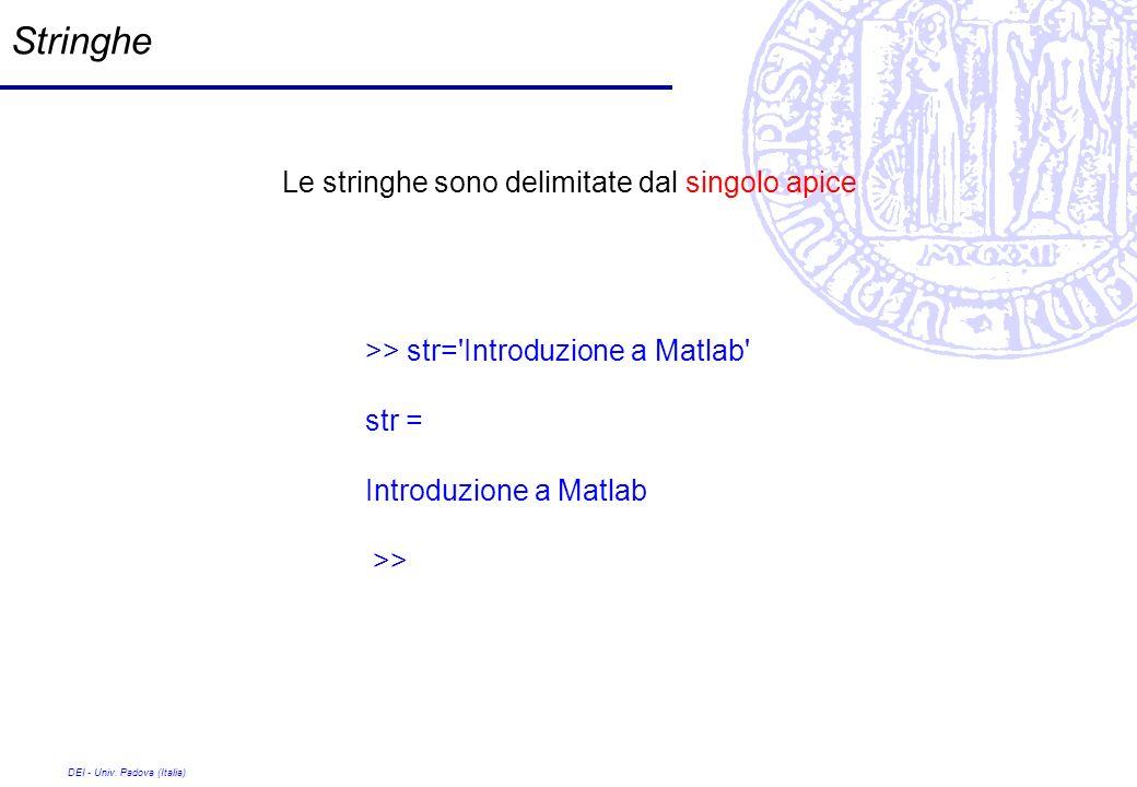 DEI - Univ. Padova (Italia) Stringhe Le stringhe sono delimitate dal singolo apice >> str='Introduzione a Matlab' str = Introduzione a Matlab >>