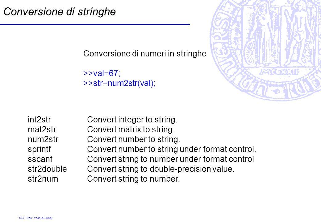 DEI - Univ. Padova (Italia) Conversione di stringhe Conversione di numeri in stringhe >>val=67; >>str=num2str(val); int2strConvert integer to string.