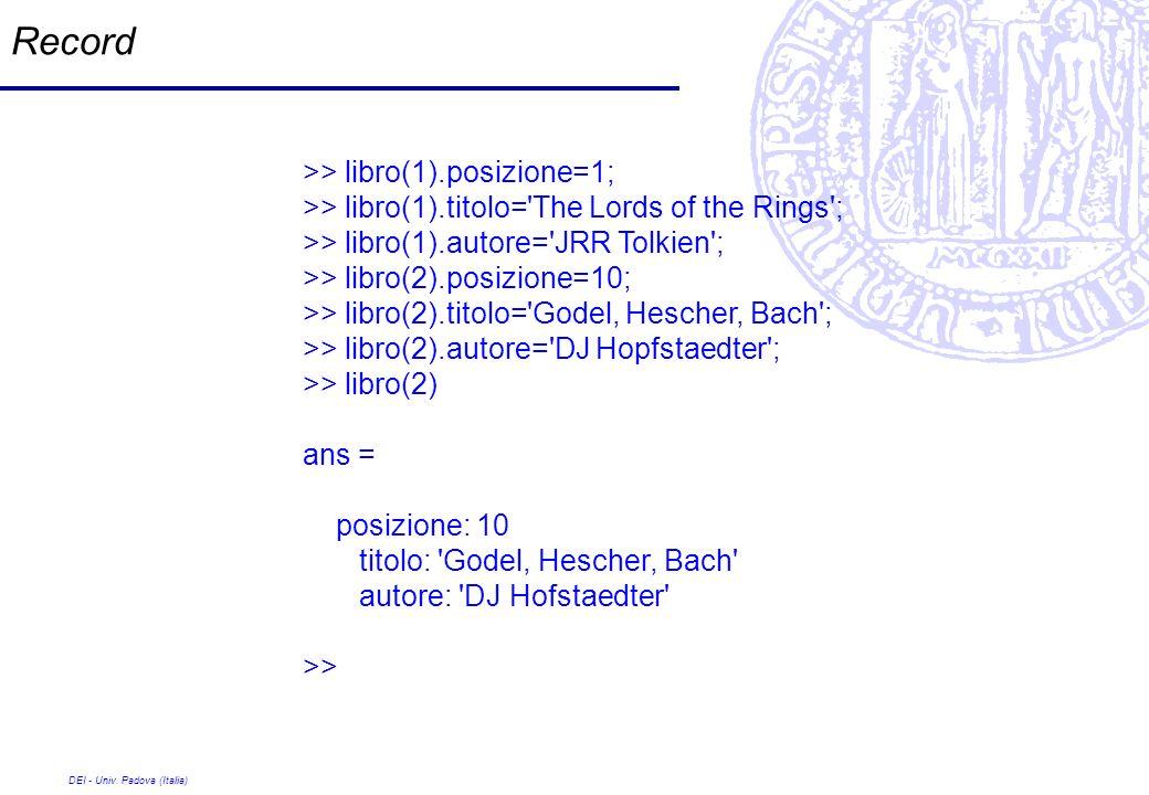DEI - Univ. Padova (Italia) Record >> libro(1).posizione=1; >> libro(1).titolo='The Lords of the Rings'; >> libro(1).autore='JRR Tolkien'; >> libro(2)