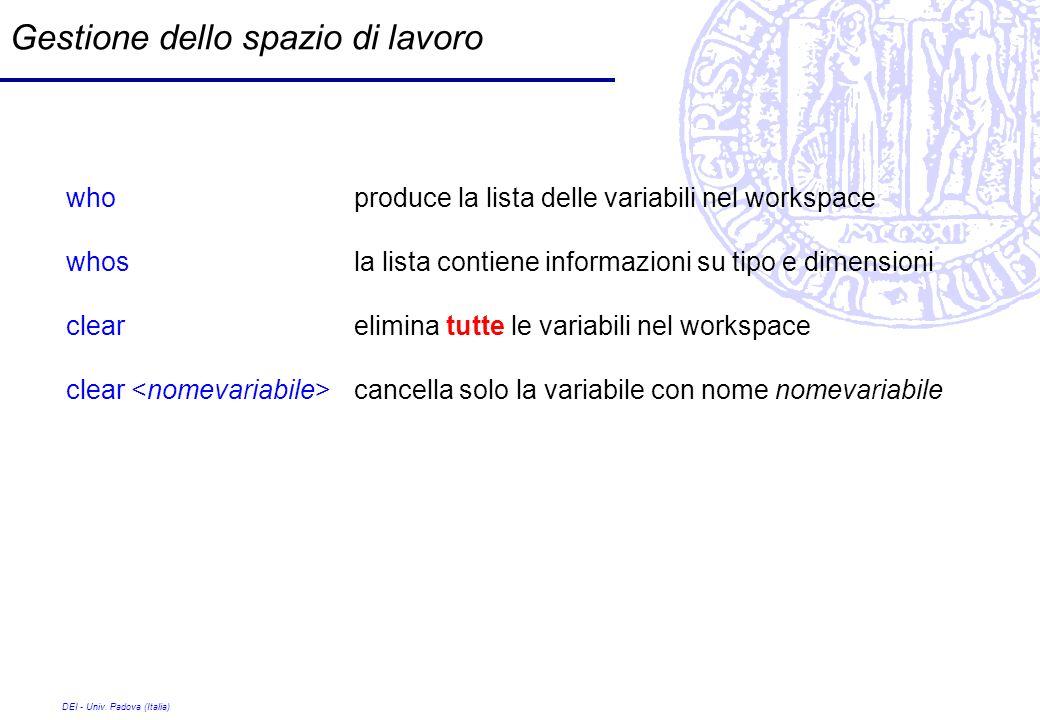 DEI - Univ. Padova (Italia) Gestione dello spazio di lavoro who produce la lista delle variabili nel workspace whos la lista contiene informazioni su