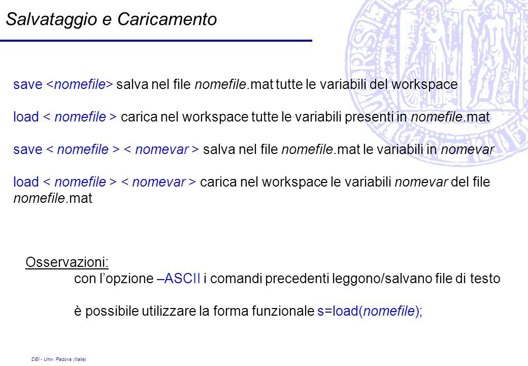 DEI - Univ. Padova (Italia) Salvataggio e Caricamento save salva nel file nomefile.mat tutte le variabili del workspace load carica nel workspace tutt
