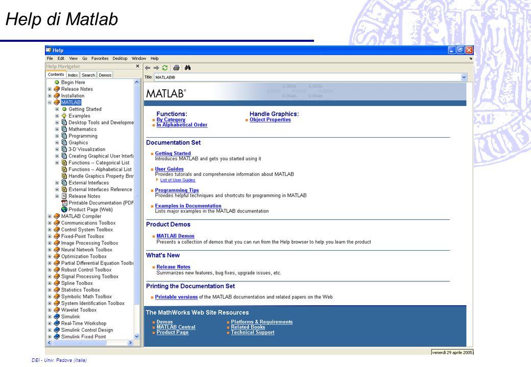 DEI - Univ. Padova (Italia) Help di Matlab