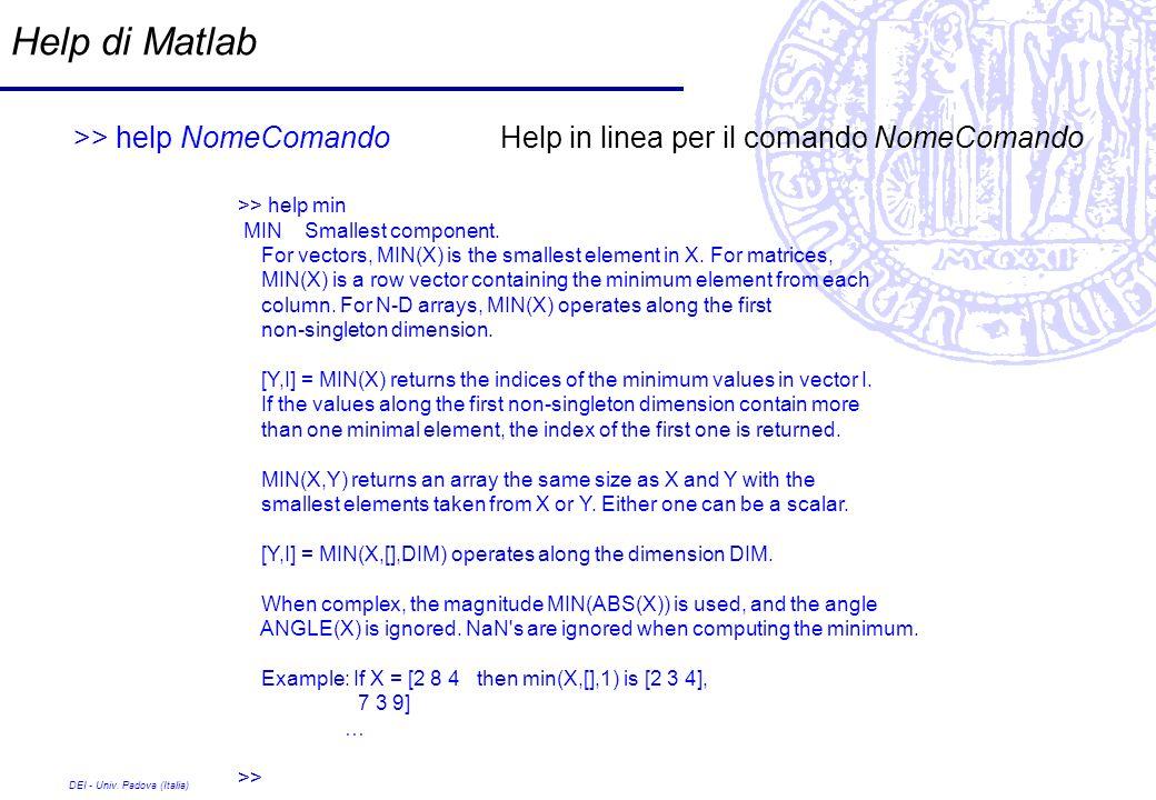 DEI - Univ. Padova (Italia) Help di Matlab >> help NomeComandoHelp in linea per il comando NomeComando >> help min MIN Smallest component. For vectors