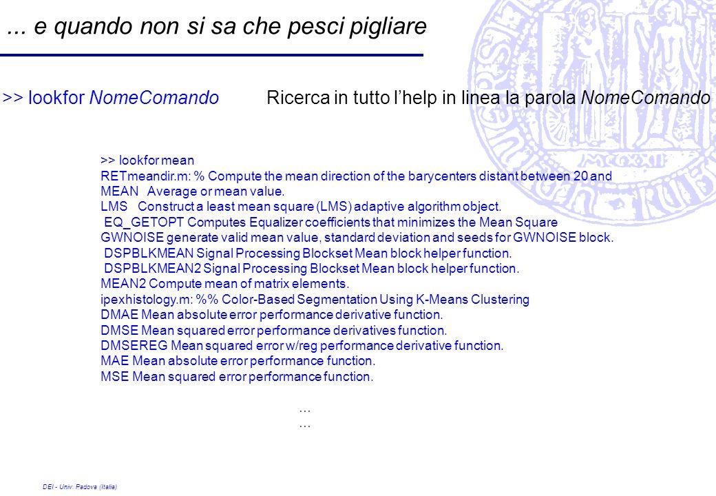 DEI - Univ. Padova (Italia)... e quando non si sa che pesci pigliare >> lookfor NomeComando Ricerca in tutto lhelp in linea la parola NomeComando >> l