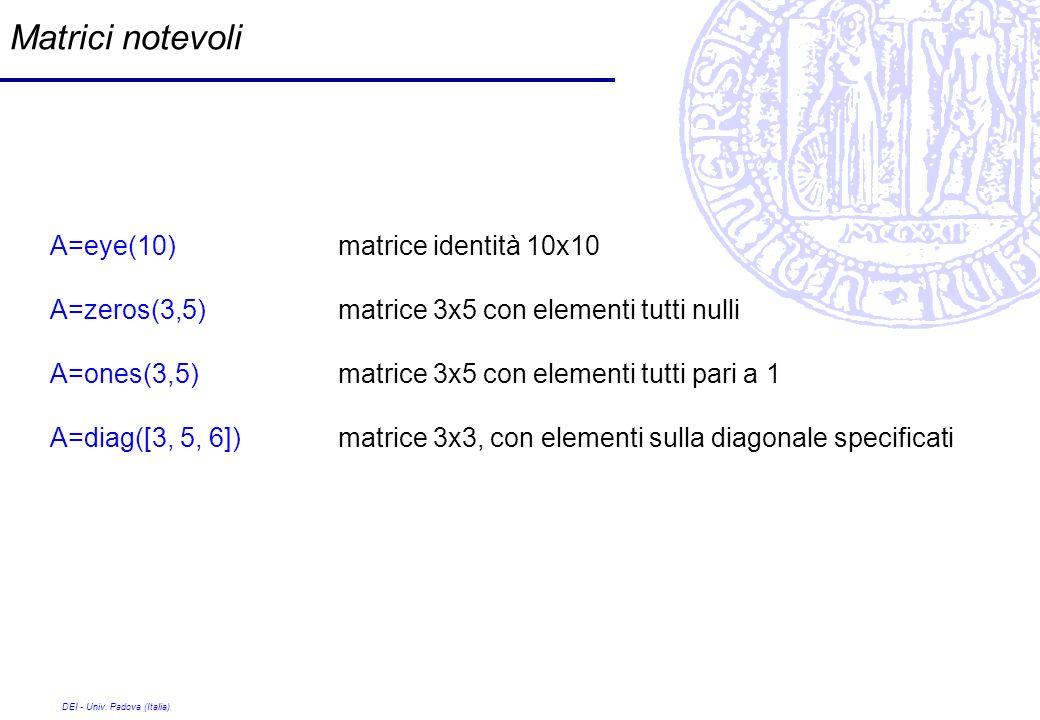 DEI - Univ. Padova (Italia) Matrici notevoli A=eye(10) matrice identità 10x10 A=zeros(3,5) matrice 3x5 con elementi tutti nulli A=ones(3,5) matrice 3x