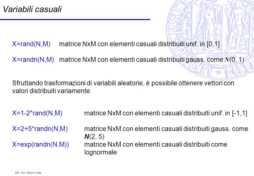 DEI - Univ. Padova (Italia) Variabili casuali X=rand(N,M) matrice NxM con elementi casuali distribuiti unif. in [0,1] X=randn(N,M) matrice NxM con ele