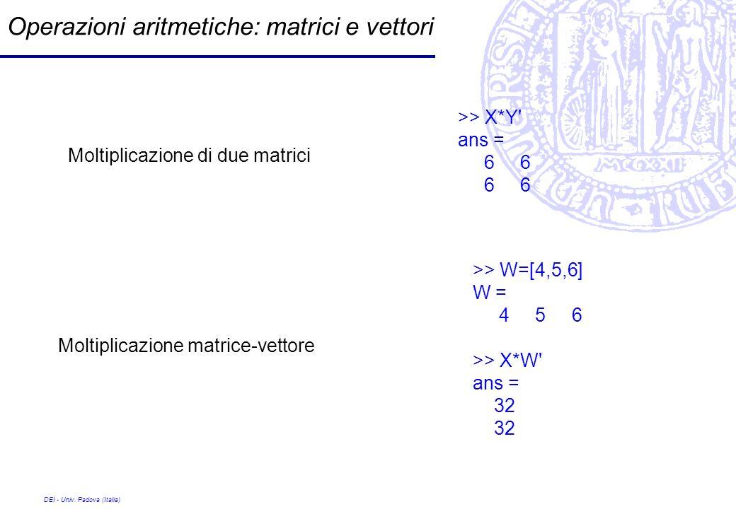 DEI - Univ. Padova (Italia) Operazioni aritmetiche: matrici e vettori >> X*Y' ans = 6 6 >> W=[4,5,6] W = 4 5 6 >> X*W' ans = 32 Moltiplicazione di due