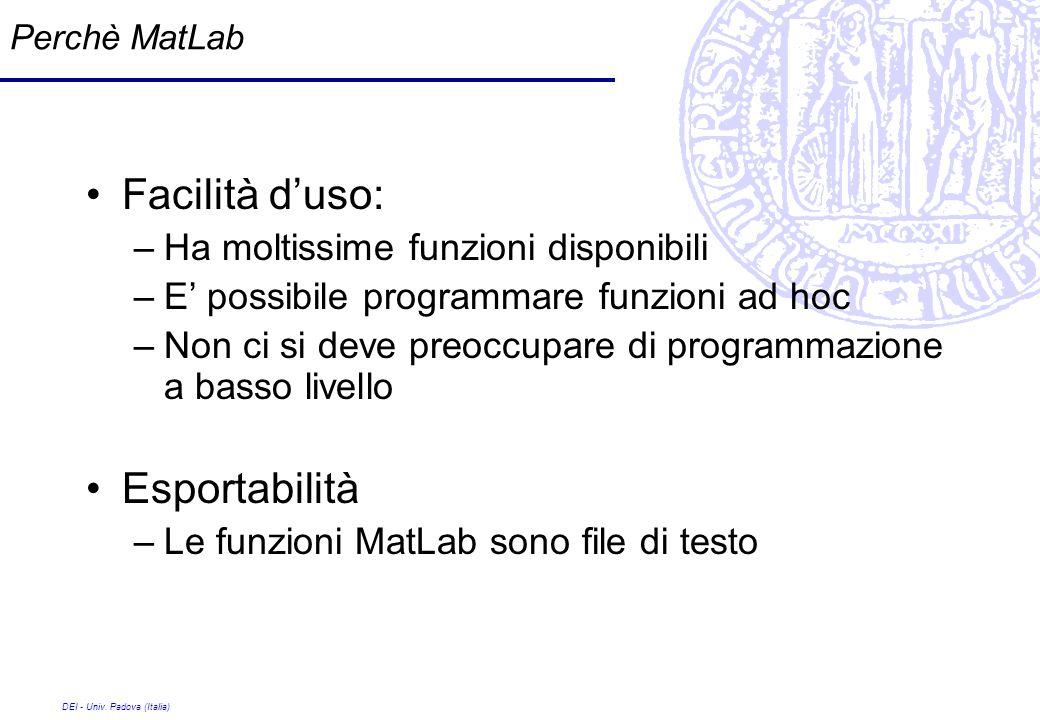 DEI - Univ. Padova (Italia) Perchè MatLab Facilità duso: –Ha moltissime funzioni disponibili –E possibile programmare funzioni ad hoc –Non ci si deve