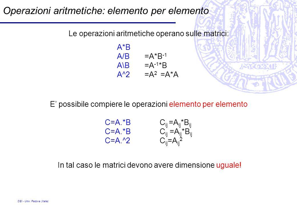 DEI - Univ. Padova (Italia) Operazioni aritmetiche: elemento per elemento Le operazioni aritmetiche operano sulle matrici: A*B A/B=A*B -1 A\B=A -1 *B
