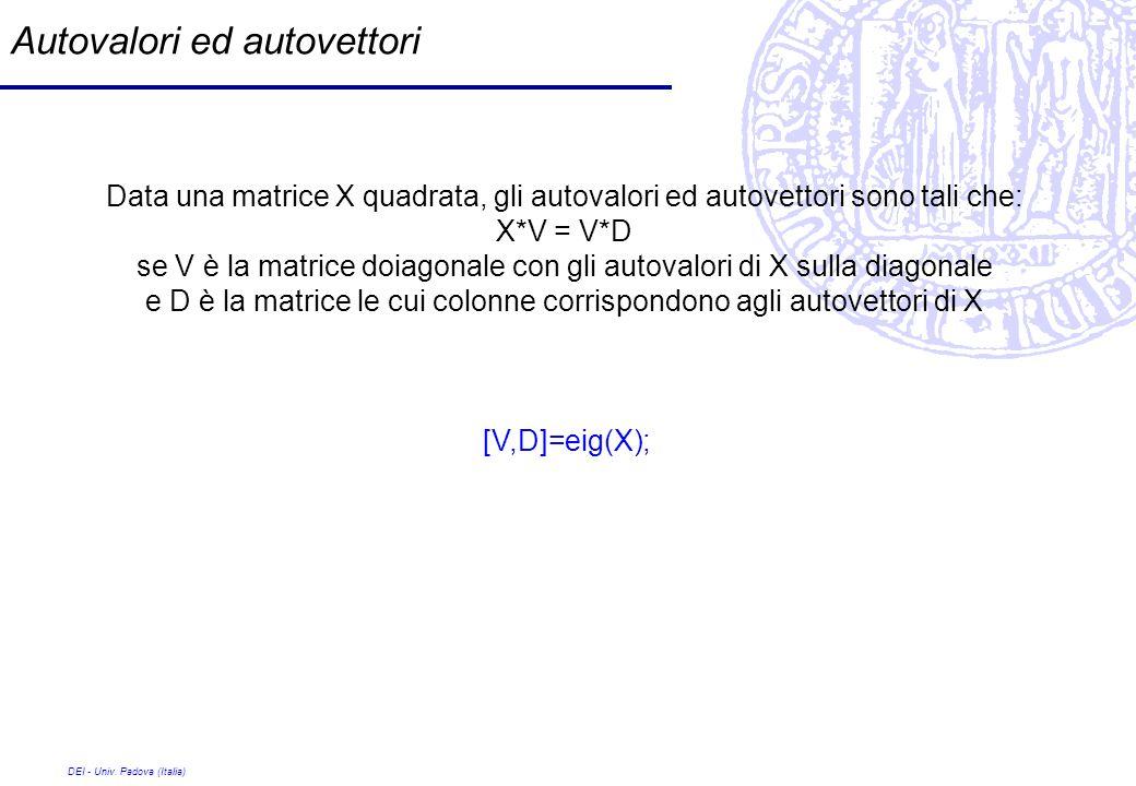 DEI - Univ. Padova (Italia) Autovalori ed autovettori Data una matrice X quadrata, gli autovalori ed autovettori sono tali che: X*V = V*D se V è la ma