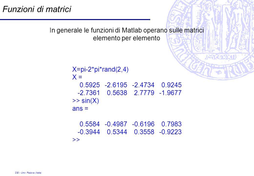 DEI - Univ. Padova (Italia) Funzioni di matrici In generale le funzioni di Matlab operano sulle matrici elemento per elemento X=pi-2*pi*rand(2,4) X =