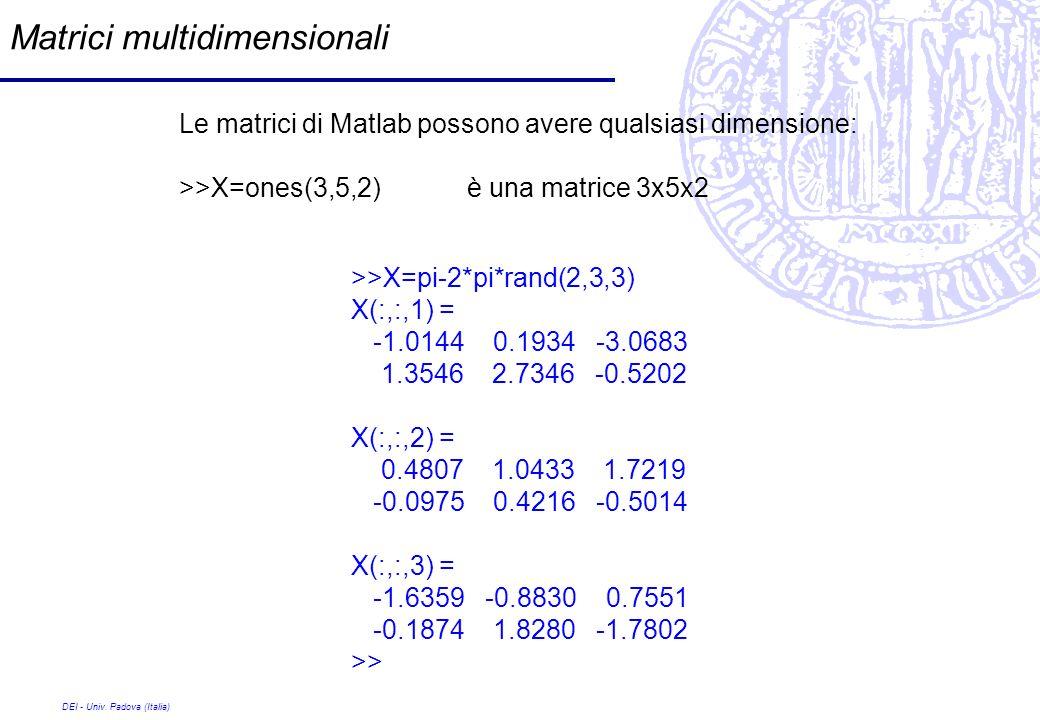 DEI - Univ. Padova (Italia) Matrici multidimensionali Le matrici di Matlab possono avere qualsiasi dimensione: >>X=ones(3,5,2)è una matrice 3x5x2 >>X=